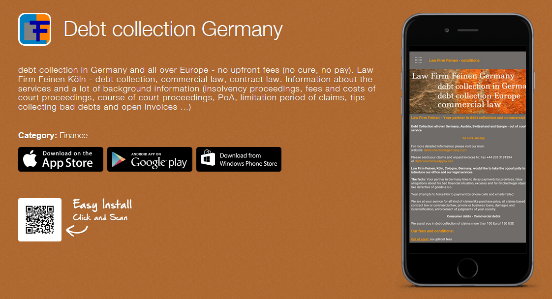 debt collection germany App Law Firm Feinen